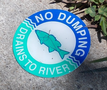 'Dump No Waste - Drains to River' is a nationwide program to help keep pollution from entering waterways via storm drains.