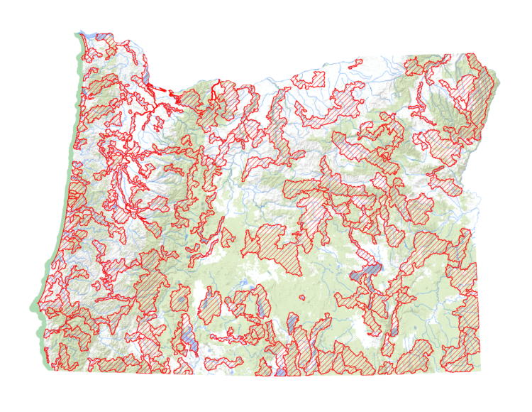Map of the 206 Conservation Opportunity Areas prioritized throughout Oregon.